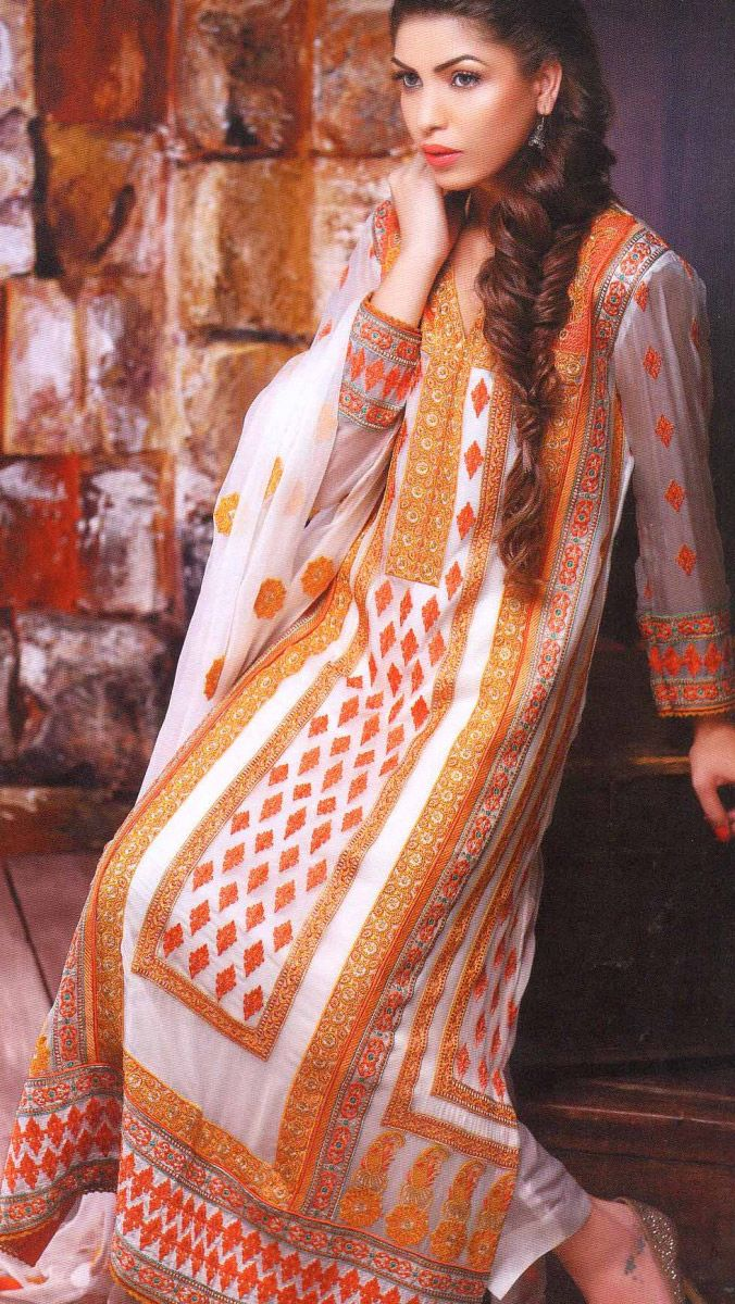 Buy White Embroidered Crinkle Chiffon Salwar Kameez by Motifz Clothes Winter Collection