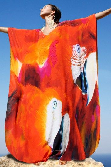 Bright Silk kaftan with its tones of red, orange and fuchsia embellished with crystal – Exotic Parrot