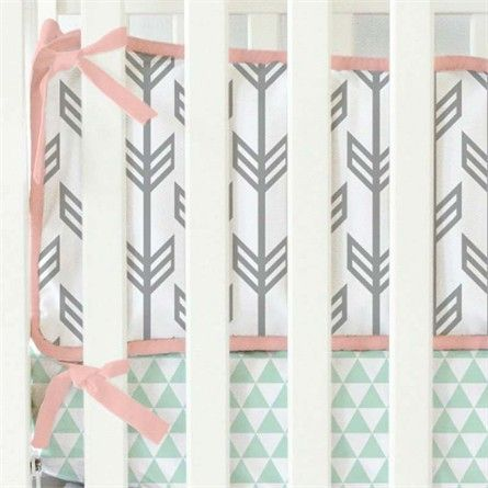 amp  Arrow Crib Coral   Mint Arrows Coral handbag shopping Mint Crib and Bumpers  Bumper