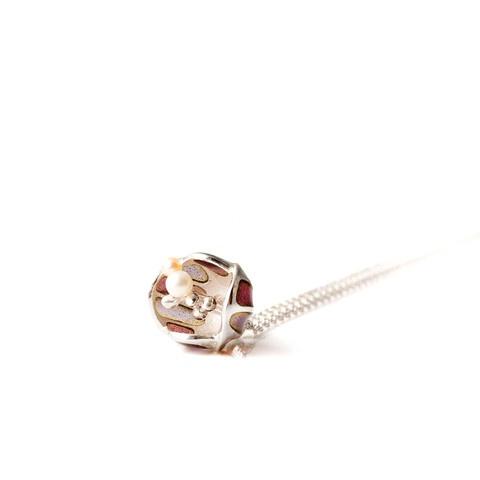 """Mystic Purple enamel Blossom"" necklace. Sterling silver. plique a jour enamel. fresh water pearls."