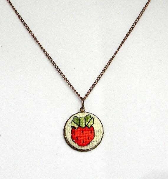 Cross Stitch Charm Necklace Strawberry Charm  by PipandAnya, $17.00
