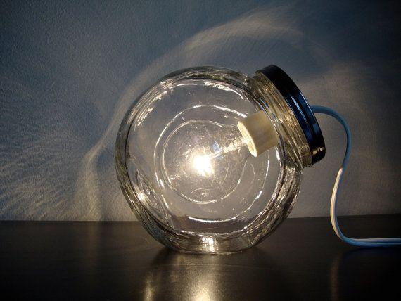 Modern Glass Jar Lighting with Clear Light Bulb / by BLIndustries, $76.00