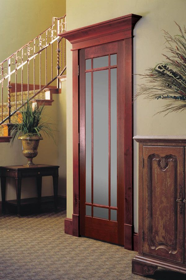 Mahogany 9 lite prairie style french door with frosted for French style entry doors