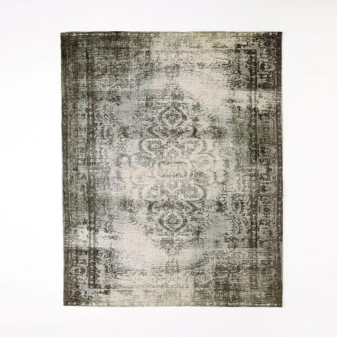 Distressed Arabesque Wool Rug, 9'x12', Steel