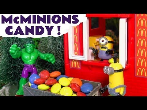 Minions McDonald's Drive Thru - Diesel steals candy from Hulk Finger Family withColors TT4U - YouTube
