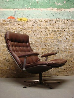 Vintage Danish Brown Leather Swivel Armchair Retro Chair 1960s | eBay