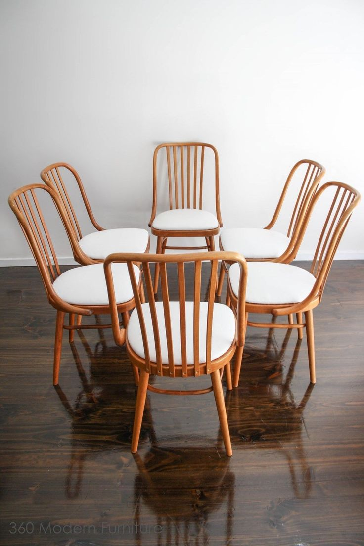 Set Of 6 Ligna Drevounia Dining Chairs Bentwood Mid