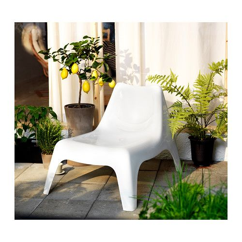 "Width: 29 1/8 "" Depth: 36 1/4 "" Seat width: 21 5/8 "" Seat depth: 19 5/8 "" Seat height: 14 1/8 "" Height: 28 ""  IKEA PS VÅGÖ Armless chair, outdoor   The chair will look fresher and last longer, as the plastic is both fade resistant and UV stabilized to prevent cracking and drying out."
