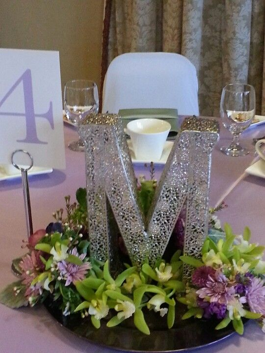 quinceanera flower centerpieces | Large monogram for centerpieces | Quinceanera Ideas