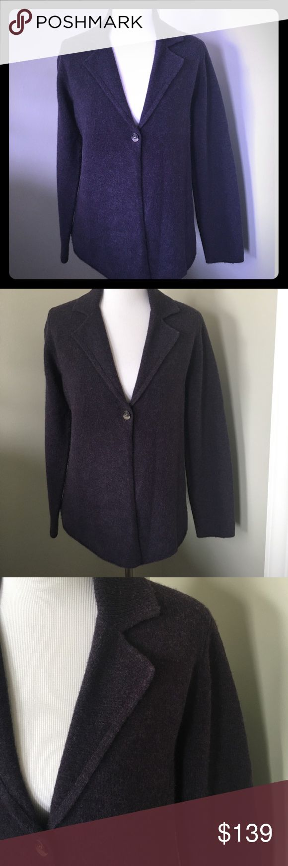 Eileen Fisher Heathered Plum Cardigan Sweater SO SOFT!  SO GORGEOUS!  88% lambswool/12% Cashmere.  Love this and paid a fortune but it's too big on me now😔. One button.  Heather plum color. ❤️❤️❤️❤️❤️❤️ Eileen Fisher Sweaters Cardigans