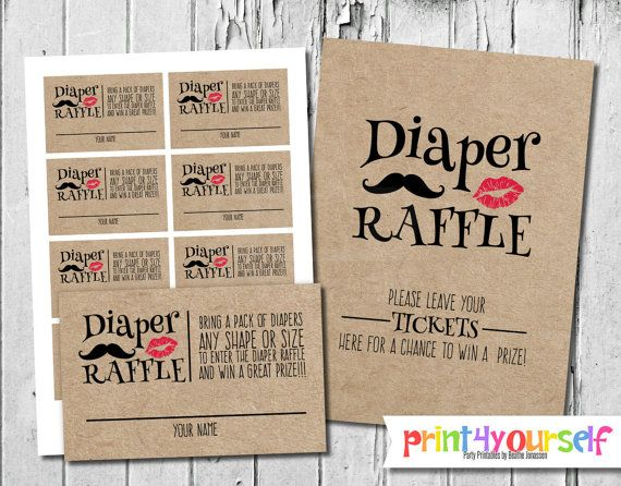 Man or Miss Craft Paper Diaper Raffle Tickets & by Print4Yourself