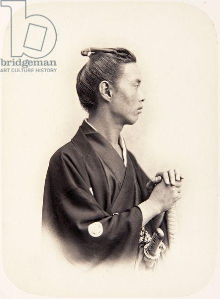 Портрет японского человека по имени Ikeda Nagaaki (Chōhatsu), также известный как не Ikeda Chikugo но Ками, самурай и главного посланника 1864 года миссии во Франции 1864 года (белково печать)