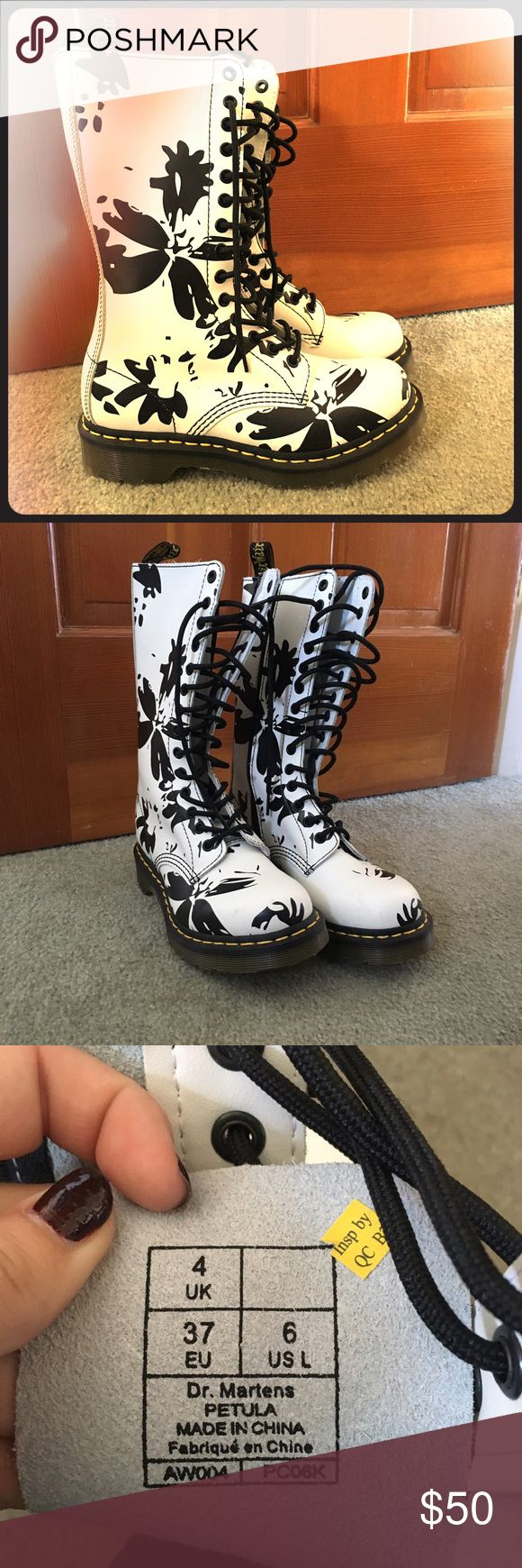 Doc Marten floral lace up boots size 6 NEW So fun! FLORAL black and white ORIGINAL doc marten lace up boots! Doc Marten Shoes Lace Up Boots