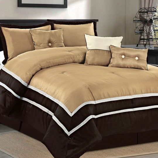 Parkview taupe 7 piece comforter set my room for Black white taupe bedroom
