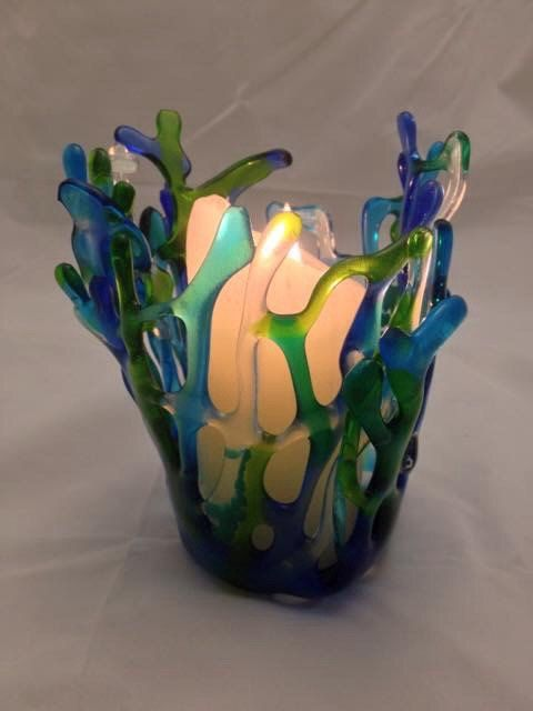 Fused Glass Votive on Etsy, $40.00