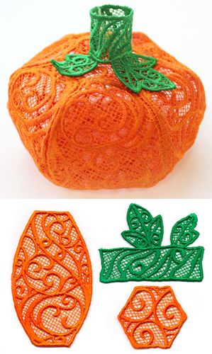 Stitch each piece separately onto heavy water-soluble stabilizer, rinse to leave only the lace, and assemble into a plump pumpkin.