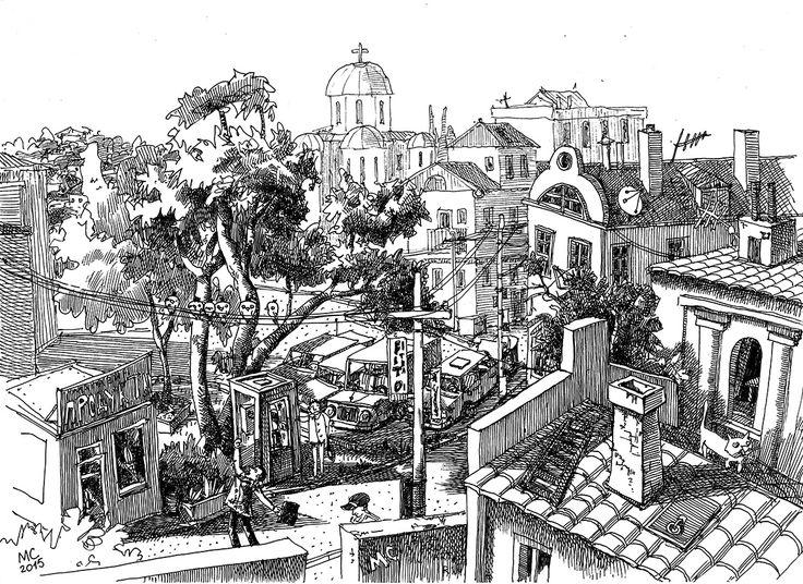 Графика, ручка, рисунок, пейзаж, фэнтези, город, иллюстрация, выдумка, Сергей Меркулов
