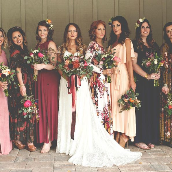 Gorgeous mix-n-match Free People bridesmaid gowns| Christina Block Photography