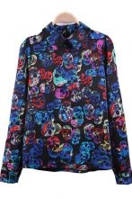 Blue Watercolor Skull Print Wing Collar Black Satin Blouse $30.32
