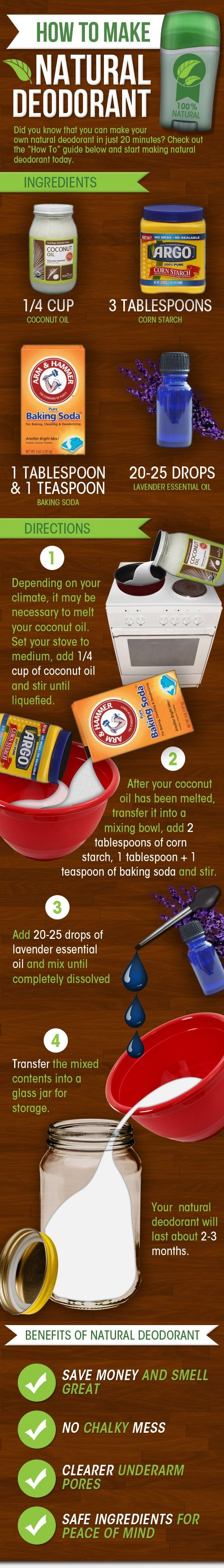Homemade Natural Deodorant - worth a try. Put in an old deodorant container for easy use.