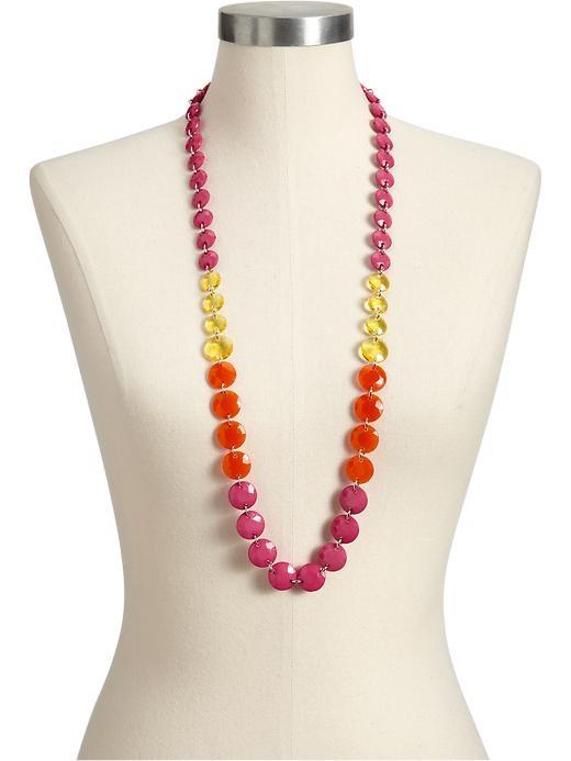 Flat Bead Necklace: Pink, Yellow, Orange.