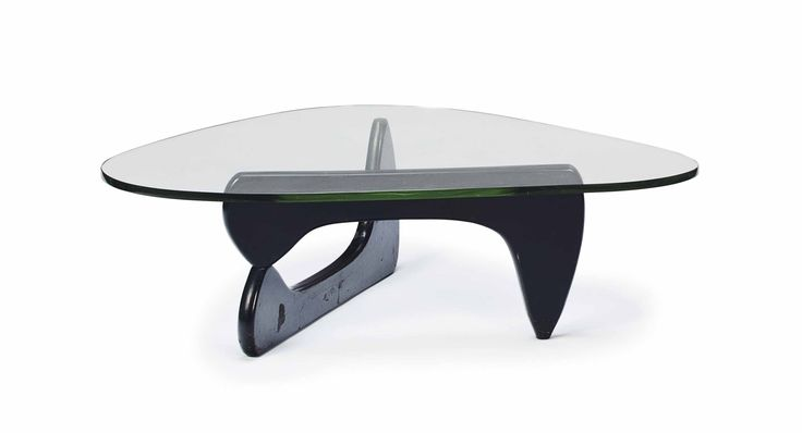 A model 'in-50' glass and ebonized wood low table, after a design by Isamu Noguchi for Herman Miller, modern