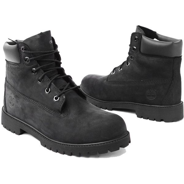 Timberland 6-Inch Classic Waterproof Boots in Black ($130) ❤ liked on Polyvore featuring shoes, boots, ankle booties, footwear, timberlands, ankle boots, black nubuck, low heel ankle boots, black booties and low heel booties