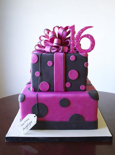 SaraElizabethCakes: Sweet 16 Birthday Cake! Black and Pink polk-a-dot present cake with fondant bow. Fondant 16 topper with edible sprinkles.
