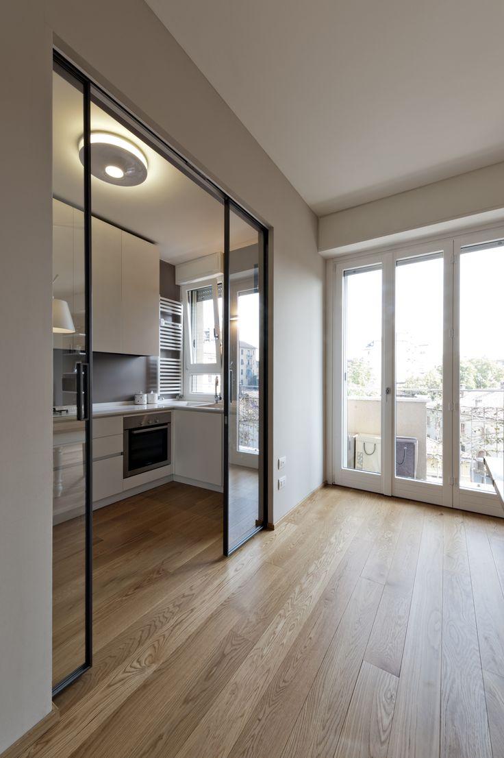 cucina, kitchen, interior, interno, ristrutturazione, appartamento, cucina, porte scorrevoli, sliding door, glass door,