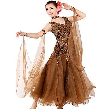 Ballroom Dancewear Women's Tulle Spandex Ballroom Modern Dance Dress Including Dress And Collar Gaiter (More Colors) – USD $ 82.99