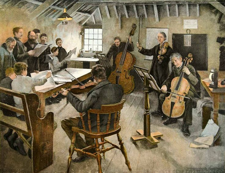 Victorian British Painting - The Village Philharmonic (1888) - Stanhope Alexander Forbes (1857-1947), a founder of the Newlyn school of painting.