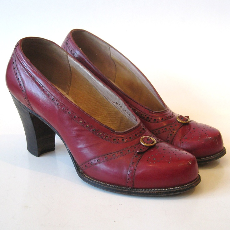 Vintage 40s Oxblood Red Leather Round Baby Doll Toe Spectator High