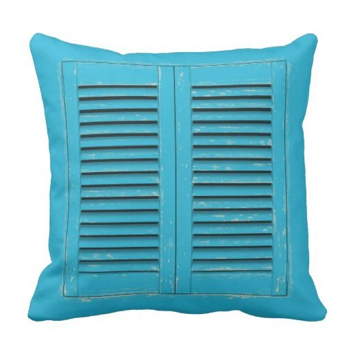 Old blue window shutters square pillow