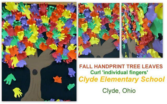 Handprints as Fall Leaves on Bulletin Board
