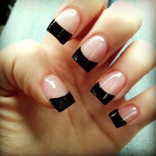 Black french tip—Keep it simple but a little spooky with clean black french tips.