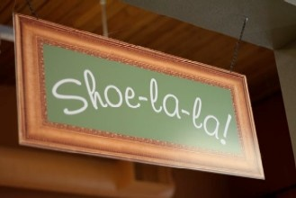 Cute shoe department sign from Here We Go Again