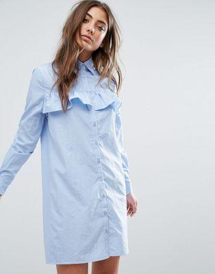 Платье-рубашка с оборками спереди Boohoo