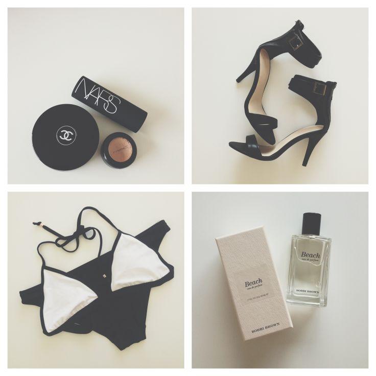 Summer Essentials: Chanel, Mac, Nars, Ankle Strap Heels by StudioW, Monochrome bikini by Lara Bingle for Cotton on Body, Beach by Bobbi Brown // Jacqui Barhouch