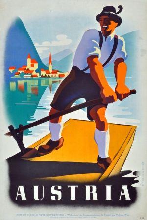 Austria Boatman, 1950s - original vintage poster listed on AntikBar.co.uk