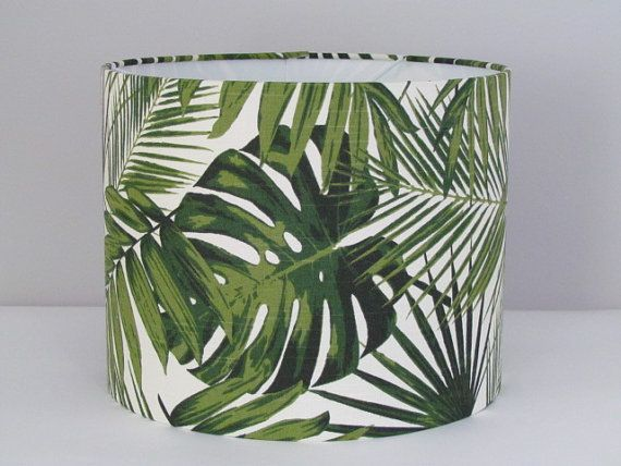 Beautiful handmade fabric drum lampshade with a botanical leaf design over a cream background. This is a slub weave fabric which gives a linen