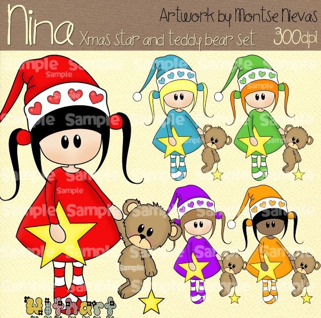 Nina dolls clipart, digital Illustration by Withart for scrapbooking, cardmaking and crafts. Christmas, doll, teddy bear, star. www.etsy.com/shop/withart