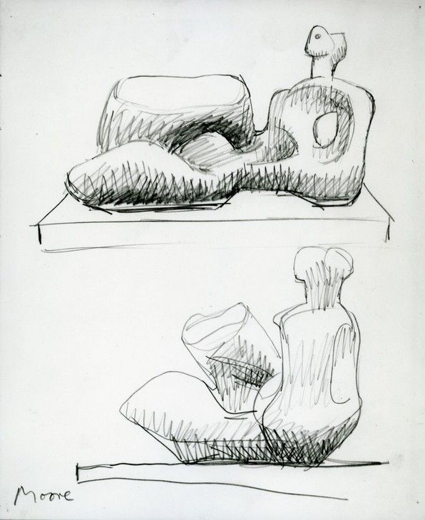 Henry Moore Drawing for Unesco Reclining Figure 1954–57 © The Henry Moore Foundation. All Rights Reserved