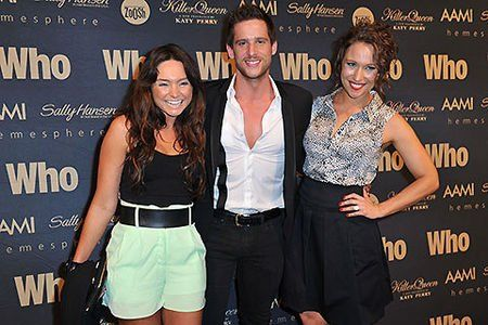 Dan Ewing sandwiched between real wife Marni & screen wife Lisa Gormley  at WHO's Sexiest People Party 2013