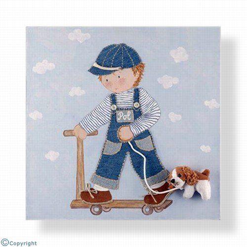 Cuadro infantil personalizado: Niño en patinete (12086-01)