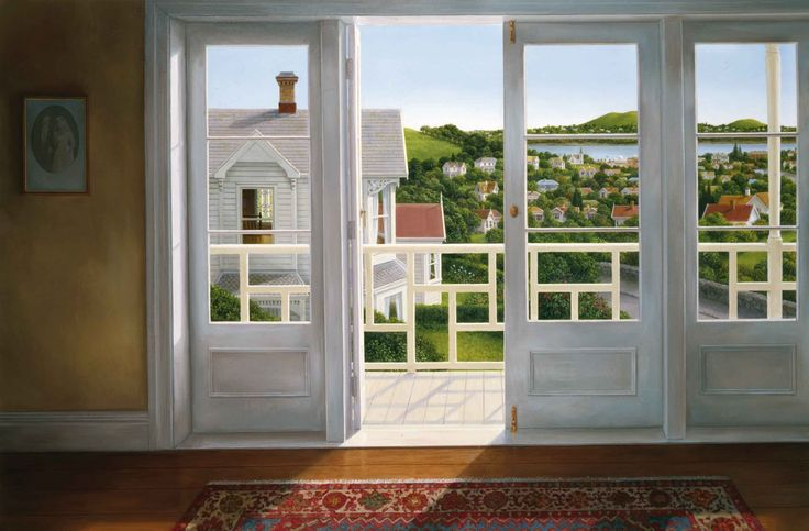 White Verandah, oil on canvas by Peter Siddell, NZ. (2007) Artist's collection.