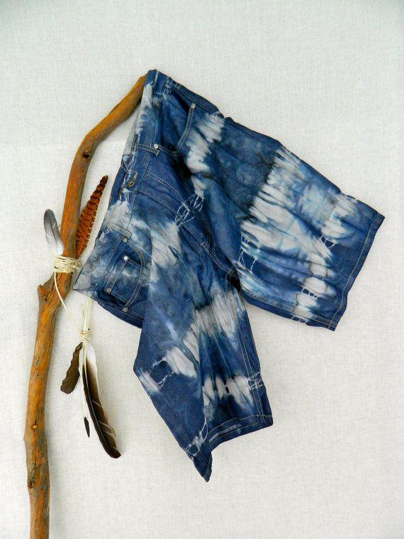 WANDERER Men's Tie Dye Shorts . size 92 ⎜36 . up-cycled shorts . slate navy charcoal. boho gypsy hippy recycleparty au wandarrah etsyau