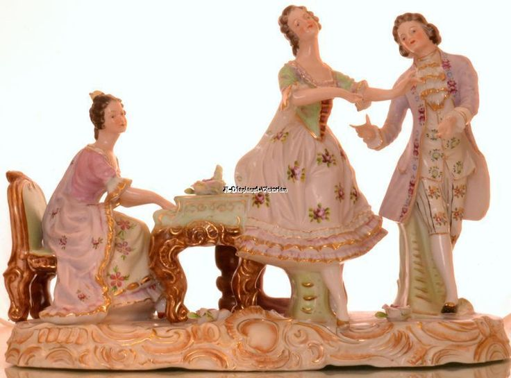 MASSIVE DRESEN GERMANY PORCELAIN ANTIQUE FIGURAL GROUP PIANO DANCERS