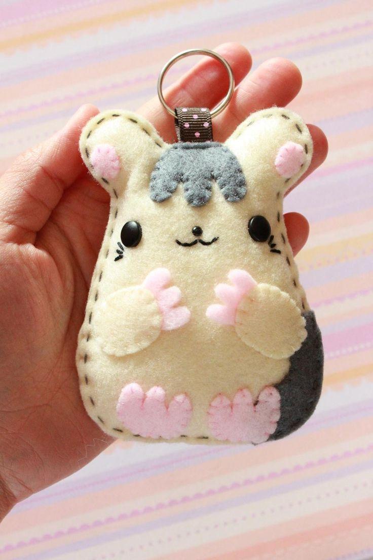 Animal Felt Keychain Tuffie Hamster by swiedebie on Etsy, via Etsy.