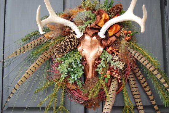 Deer Horn Decorations | wildlife antler wreath Copper Mule Deer by ... | Lake house decor