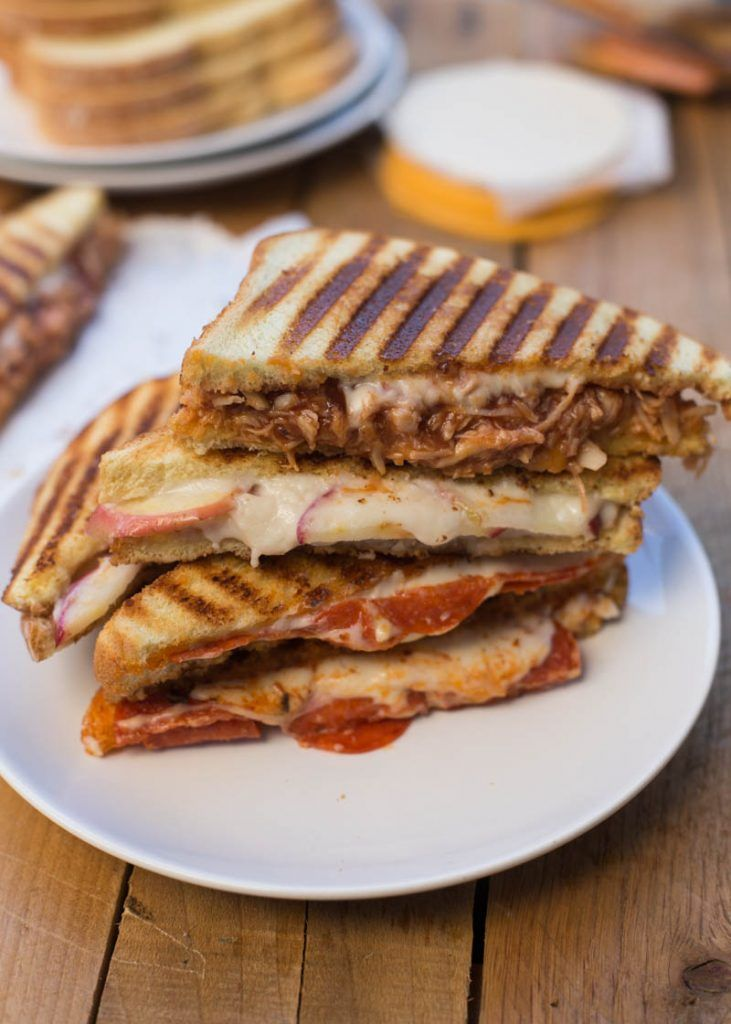 Grilled Cheese Sandwiches Three Easy Ways with @Daiyafoods Cheese Slices! BBQ Chicken, Pepperoni Pizza, and Turkey, Apple Swiss Grilled Cheese Sandwiches. Your family will love all of them!
